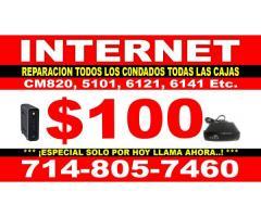 INTERNET DE UN SOLO PAGO REPARACION Y REMPLAZO $100